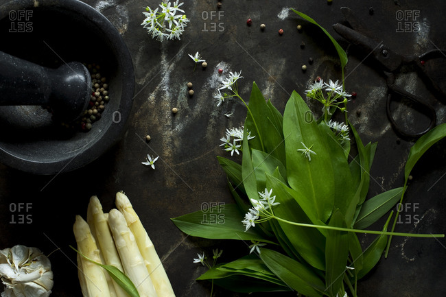Mortar and pestle- scissors- peeled asparagus- ramson and peppercorns on rustic baking sheet
