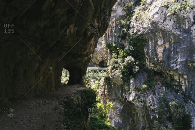 Bridge connected to mountains at Ruta Del Cares- Asturias- Spain