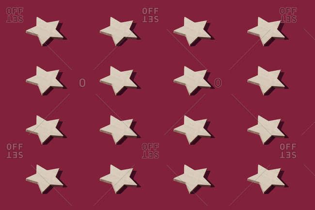 Pattern of star shaped Christmas ornaments
