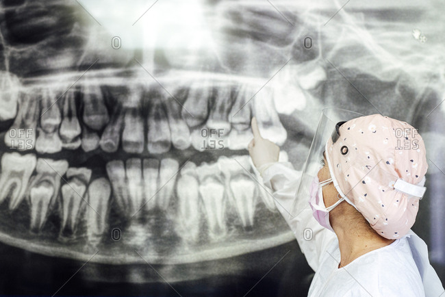 Dentist in protective workwear pointing at dental x-ray while standing in clinic