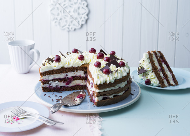 Plate with ready-to-eatBlack Forest cake