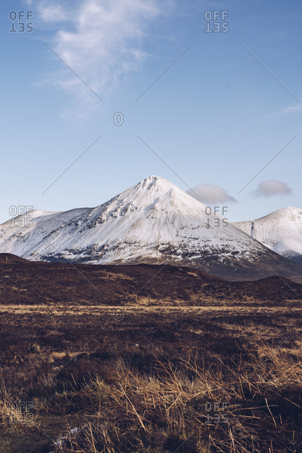 UK- Scotland- Snowcapped mountains of Isle of Skye in winter