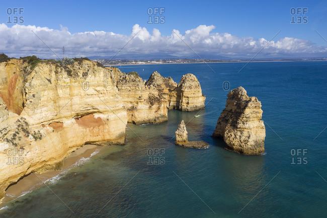 Portugal- Algarve- Lagos- Drone view of Ponta da Piedade headland