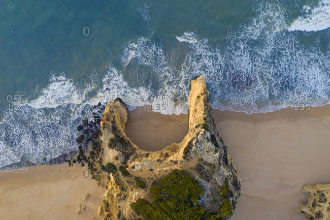 Portugal- Algarve- Lagoa- Drone view of cliffs and beach at Praia da Marinha