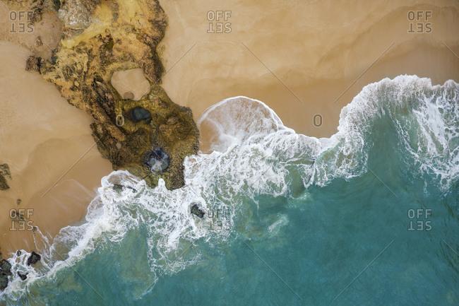 Portugal- Algarve- Lagoa- Drone view of sandy beach at Praia de Albandeira