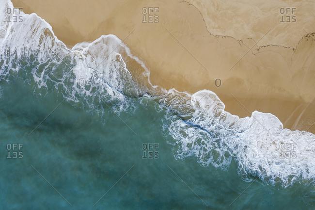 Portugal- Algarve- Drone view of Praia da Malhada do Baraco beach