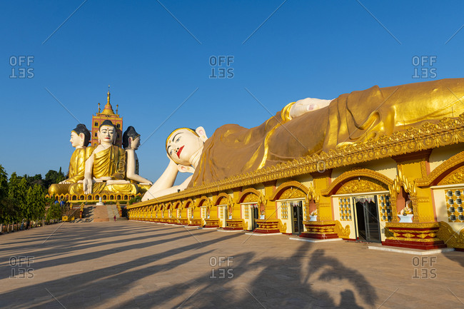Myanmar- Mon State- Giant statue of reclining Buddha in Pupawadoy Monastery