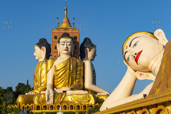 Myanmar- Mon State- Ko Yin Lay Pagoda and giant statue of reclining Buddha in Pupawadoy Monastery