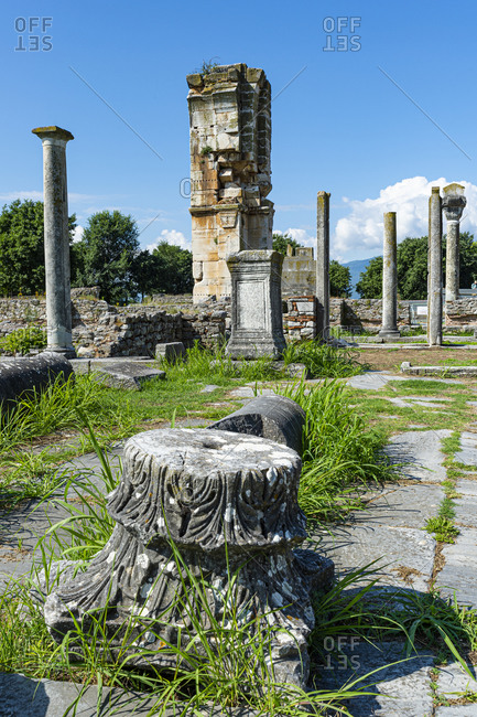 Greece- Eastern Macedonia and Thrace- Filippoi- Ancient ruins ofPhilippi on sunny day
