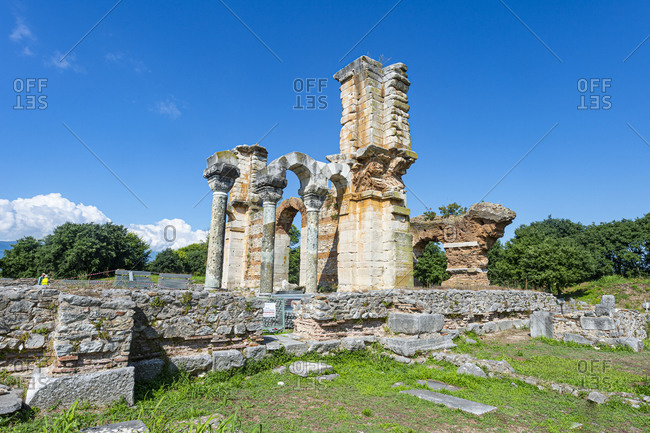 Greece- Eastern Macedonia and Thrace- Filippoi- Ancient ruins of Philippi on sunny day