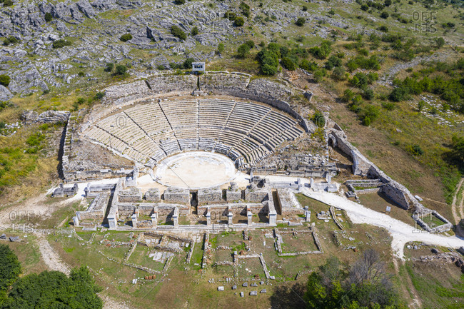 Greece- Eastern Macedonia and Thrace- Filippoi- Aerial view of ancient amphitheater in Philippi on sunny day
