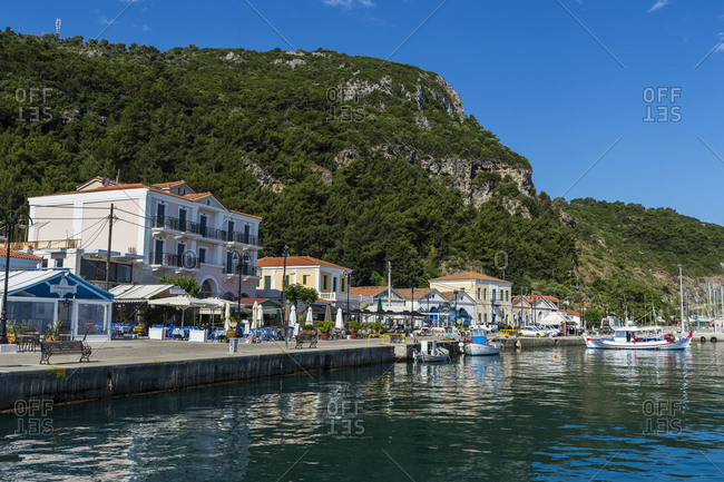June 19, 2020: Greece- North Aegean- Karlovasi- Coastal town in summer with mountain in background