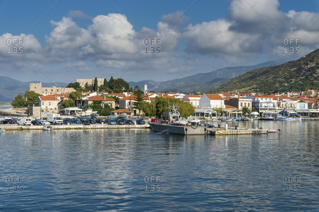 June 22, 2020: Greece- North Aegean- Pythagoreio- Clouds over harbor of coastal town in summer