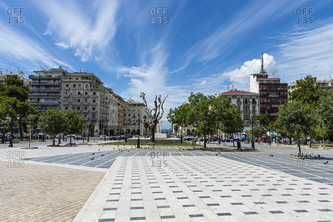 June 23, 2020: Greece- Central Macedonia- Thessaloniki- Empty Dikastirion Square in summer