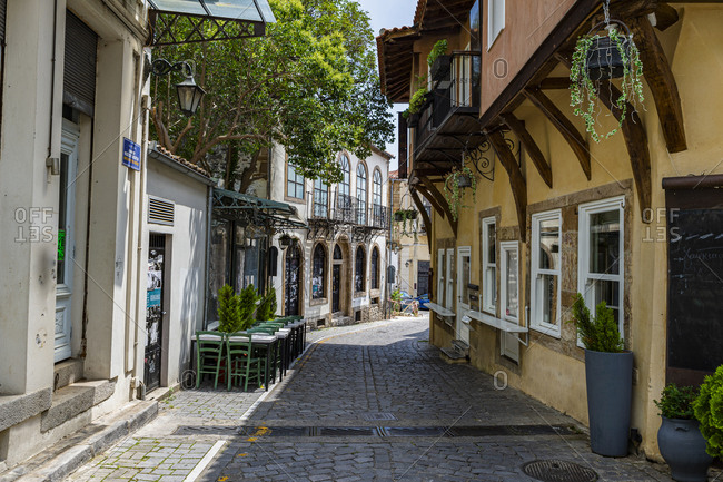 June 24, 2020: Greece- Eastern Macedonia and Thrace- Xanthi- Cobblestone alley between old Ottoman houses