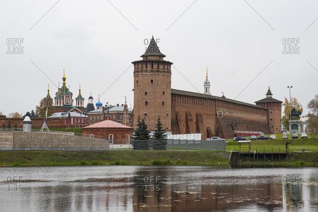 October 9, 2019: Russia- Moscow Oblast- Kolomna- River flowing in front of Kolomna Kremlin