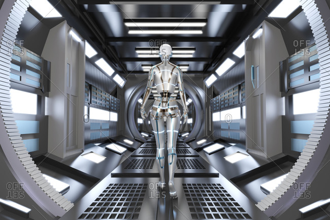 Three dimensional render of gynoid walking across futuristic corridor inside spaceship or space station