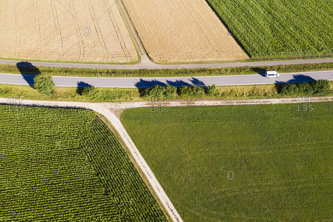 Aerial view of country road stretching between wheat and corn fields in summer