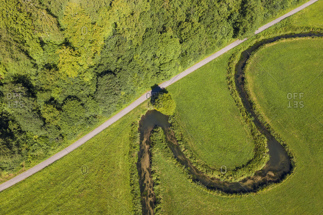 Aerial view of winding Grosse Lauter river in summer