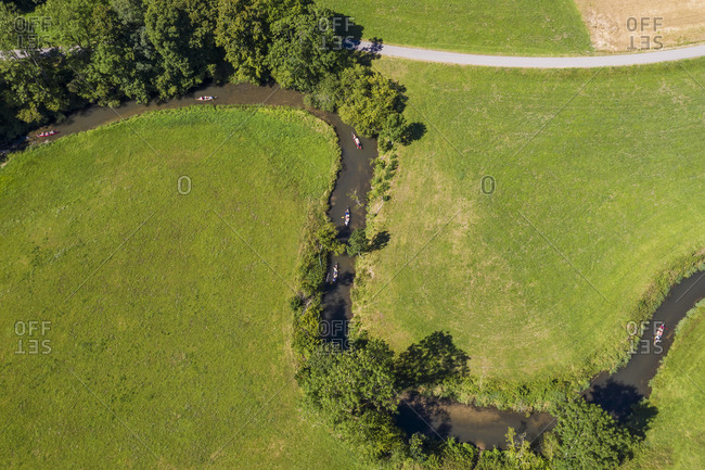 Aerial view of kayakers on Grosse Lauter river in summer