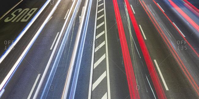 Vehicle light trails on federalhighway