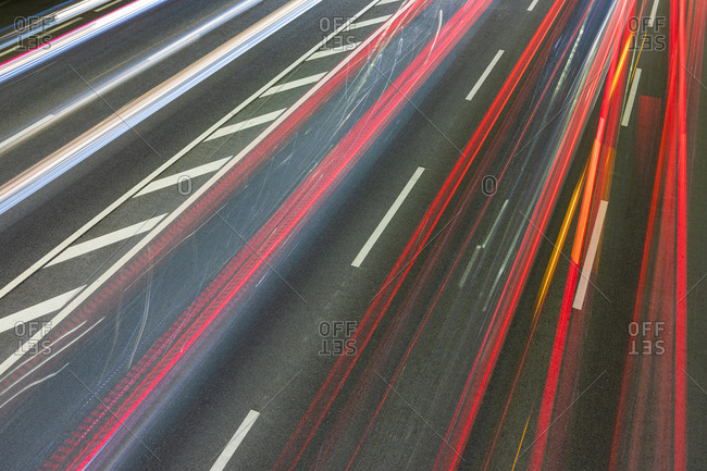 Vehicle light trails on federal highway