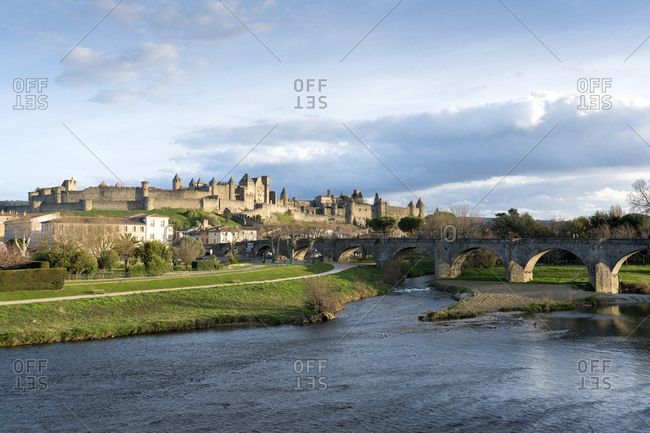 Medieval fortress near river Aude- Carcassonne- Languedoc-Roussillon- France