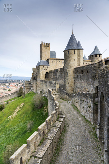 March 3, 2019: Medieval fortified city of Carcassonne- Languedoc-Roussillon- France