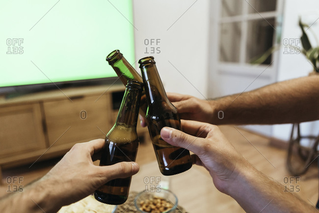 Hands of male friends toasting beer bottles at home