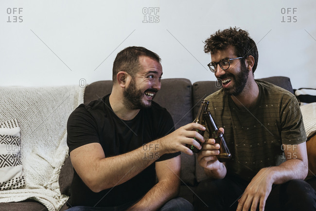Cheerful male friends toasting beer bottles while sitting on sofa in living room