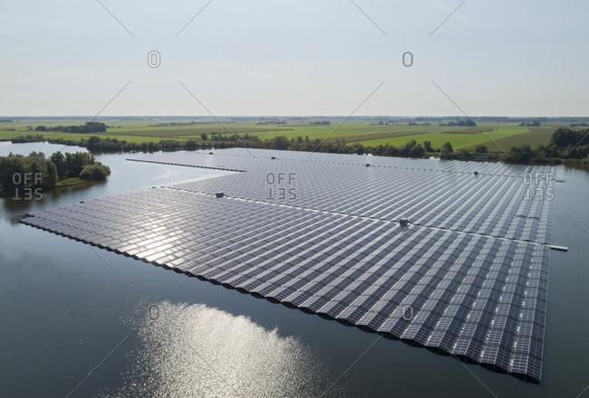 A floating solar farm in Friesland, Netherlands