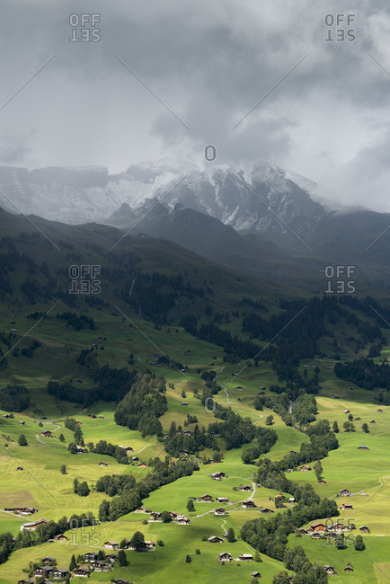 View of village of Grindelwald, Bern, Switzerland.