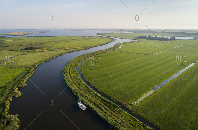 A sailing boat moored in the Frisian lake