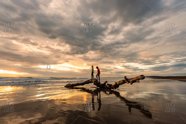 Two kids climbing on a large piece of driftwood on beach at sunset