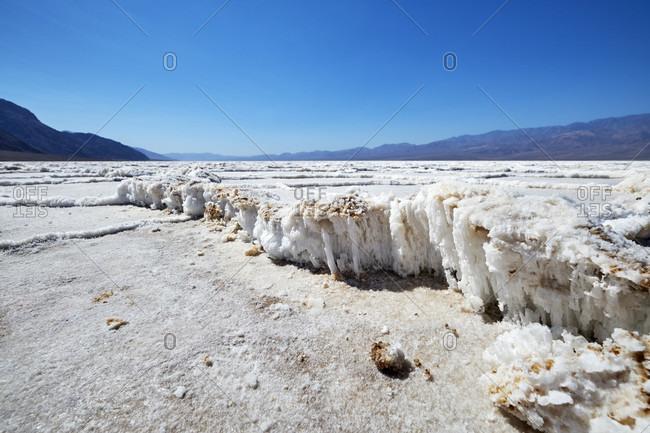 USA, United States of America, Nevada,  Death Valley National Park, Badwater Basin, Sierra Nevada, California