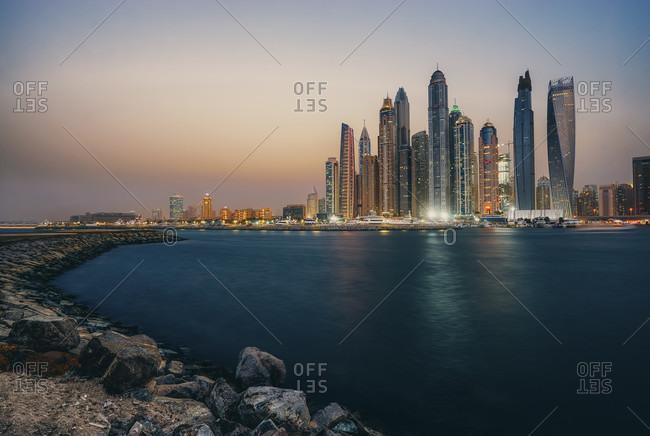 October 31, 2019: United Arab Emirates, Dubai Marina, Skyline, Middle East,
