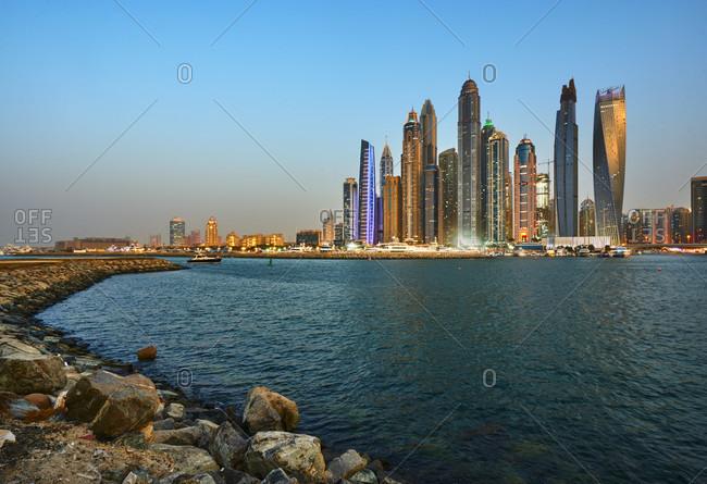 November 22, 2016: Dubai, UAE, Emirates, United Arabic Emirates, Middle East, Africa, Dubai Skydive, Dubai Harbor Skyline illuminated at night,