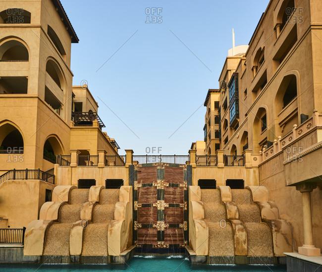 November 21, 2016: Dubai, UAE, Emirates, United Arabic Emirates, Middle East, Africa, fountain place area, souk al bahar,