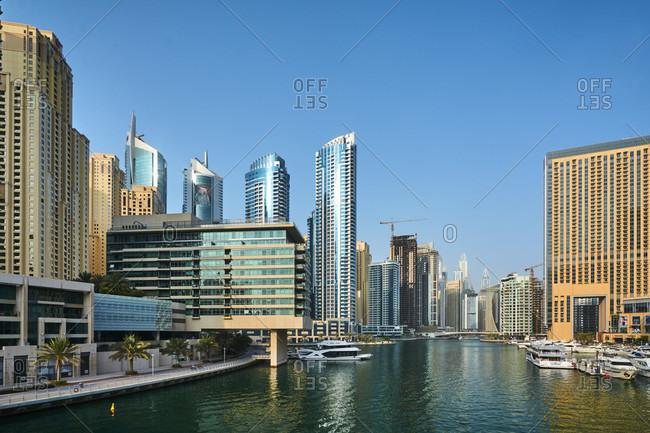 November 22, 2016: Dubai, UAE, Emirates, United Arabic Emirates, Middle East, Africa, Dubai Harbor at Daytime with blue sky,