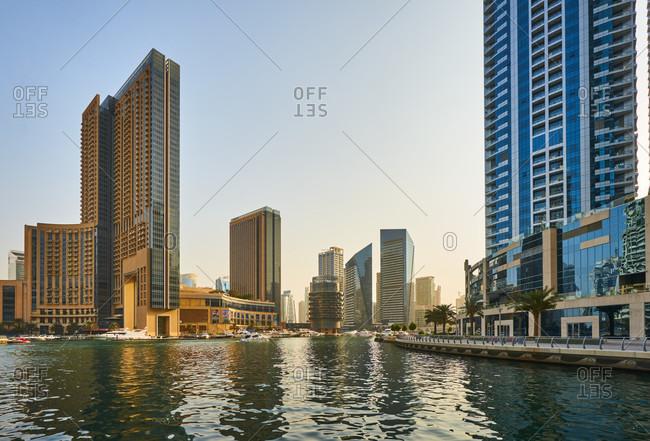 November 22, 2016: Dubai, UAE, Emirates, United Arabic Emirates, Middle East, Africa, Dubai Harbor at Sunset,