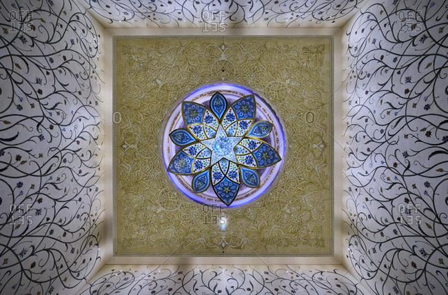 November 23, 2016: Abu Dhabi, UAE, Emirates, United Arab Emirates, Africa, Middle East, Grand Sheikh Zayed Mosque, interior pattern,