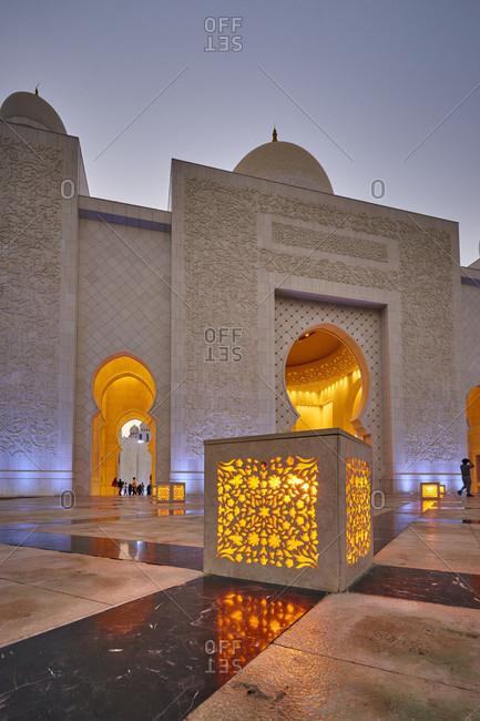 November 23, 2016: Abu Dhabi, UAE, Emirates, United Arab Emirates, Africa, Middle East, Grand Sheikh Zayed Mosque, Front low angle shot,