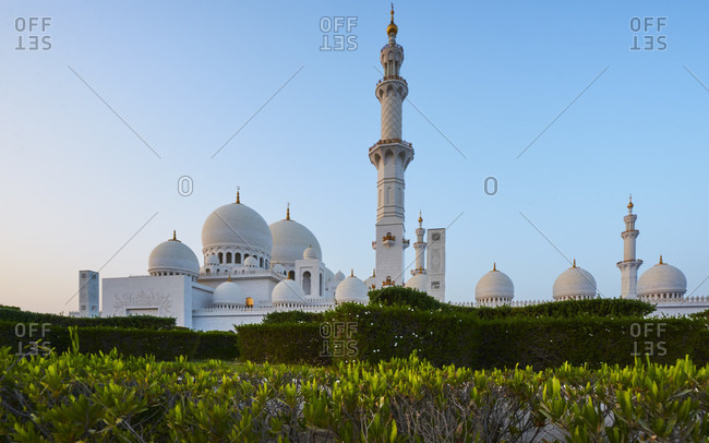 Dubai, UAE, Emirates, United Arabic Emirates, Middle East, Africa, Grand Sheikh Zayed Mosque, Blue Sky, Plants in foreground