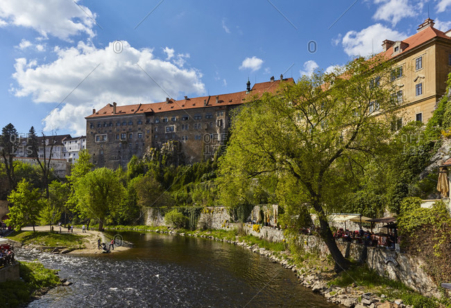 May 8, 2016: Cesky Krumlov, Krumau, CZ, Czech, Moldau, Unesco Town, Europe, Bohemia, Castle Cesky Krumlov with Moldau River bend,