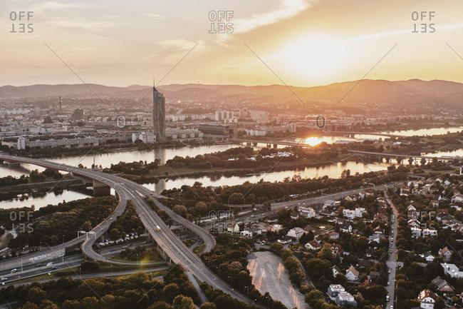 August 15, 2016: Vienna, Austria, Europe, Donau Island, Danube River, CBD, DC Tower,