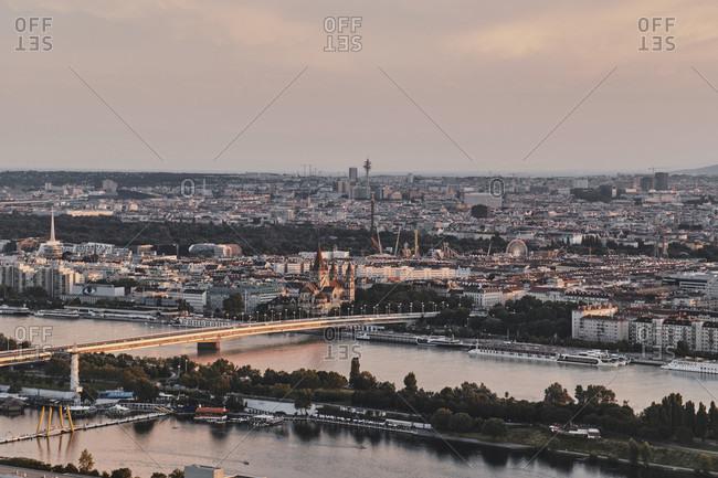August 15, 2016: Vienna, Austria, Europe, Donau Island, Danube River, CBD