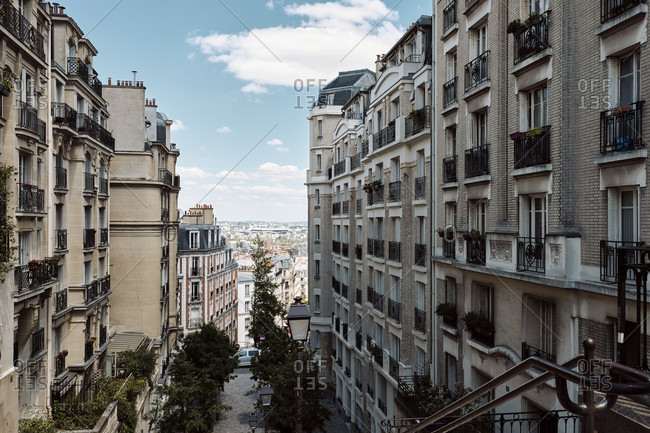 Europe, France, Paris, Montmartre, Residential Buildings with view to City
