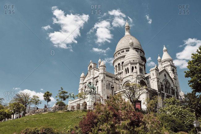 May 16, 2019: Europe, France, Paris, Montmartre, Sacre Coeur, Low angle view