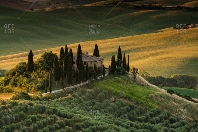 June 21, 2020: Europe, Italy, Val d'Orcia, San Quirico, Pordere Belvedere, Agritourismo, Tuscany, Tuscan Landscape