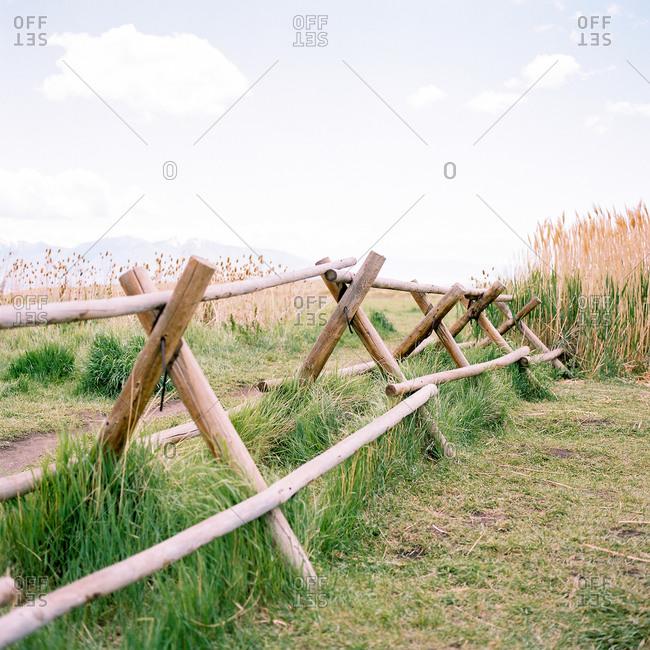 Wooden fence in the countryside in Utah, USA